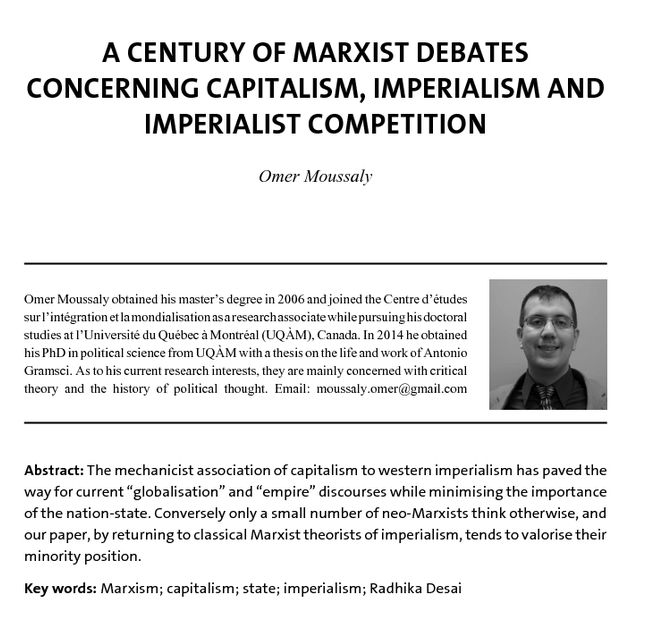 A Century of Marxist Debates Concerning Capitalism, Imperialism and Imperialist Competition