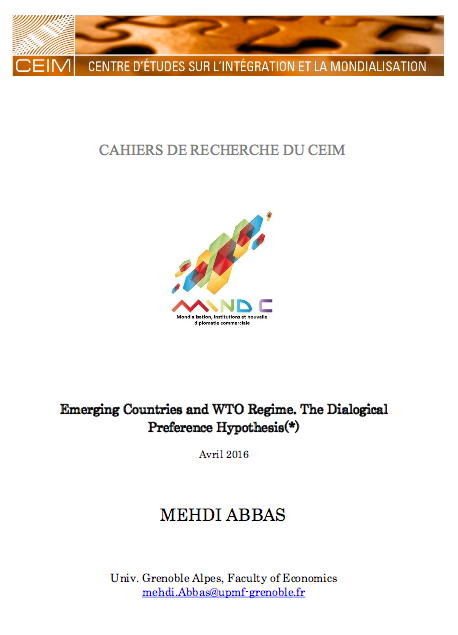 Emerging Countries and WTO Regime. The Dialogical Preference Hypothesis