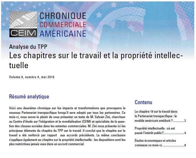 Analyse du TPP : Les chapitres sur le travail et la propriété intellectuelle