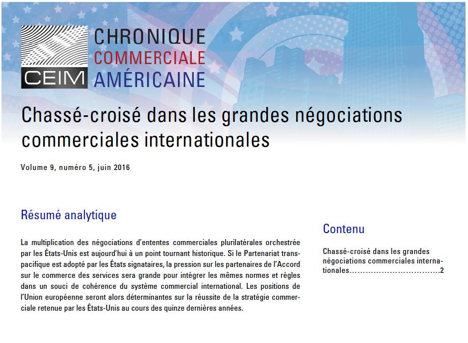 Chassé-croisé dans les grandes négociations commerciales internationales