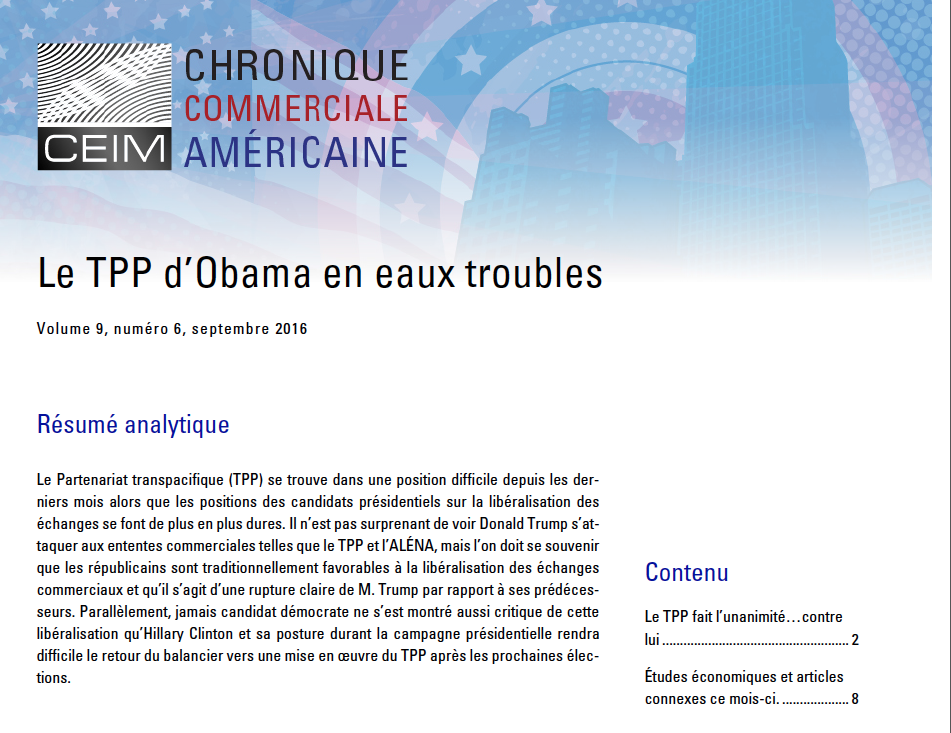 Le TPP d'Obama en eaux troubles