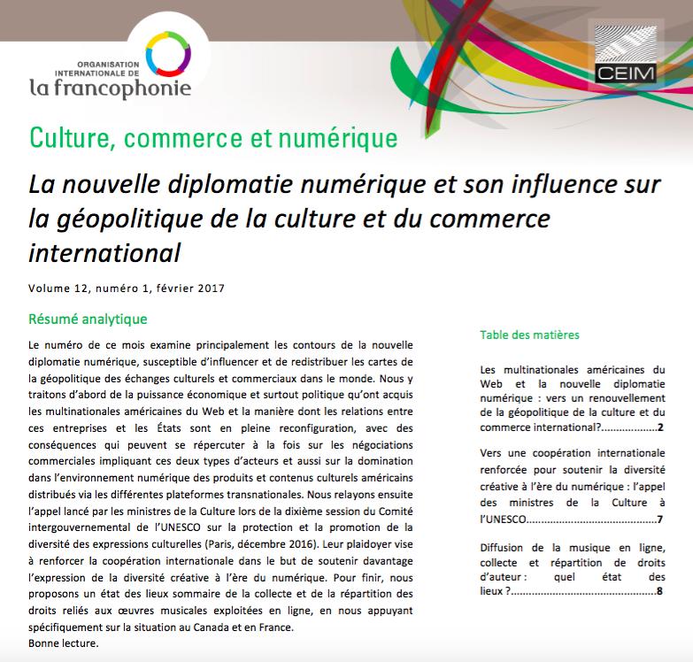 La nouvelle diplomatie numérique et son influence sur la géopolitique de la culture et du commerce international