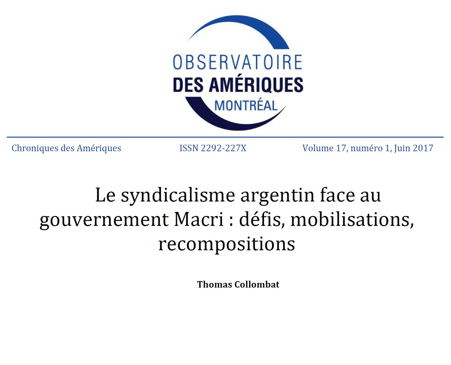 Le syndicalisme argentin face au gouvernement Macri: défis, mobilisations, recompositions