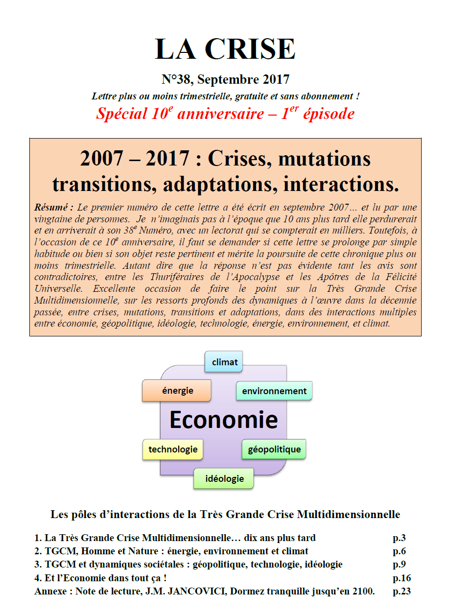 2007 – 2017 : Crises, mutations transitions, adaptations, interactions.