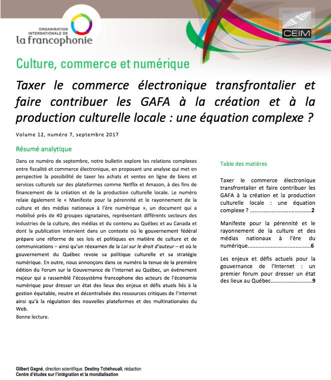Taxer le commerce électronique transfrontalier et faire contribuer les GAFA à la création et à la production culturelle locale: une équation complexe?