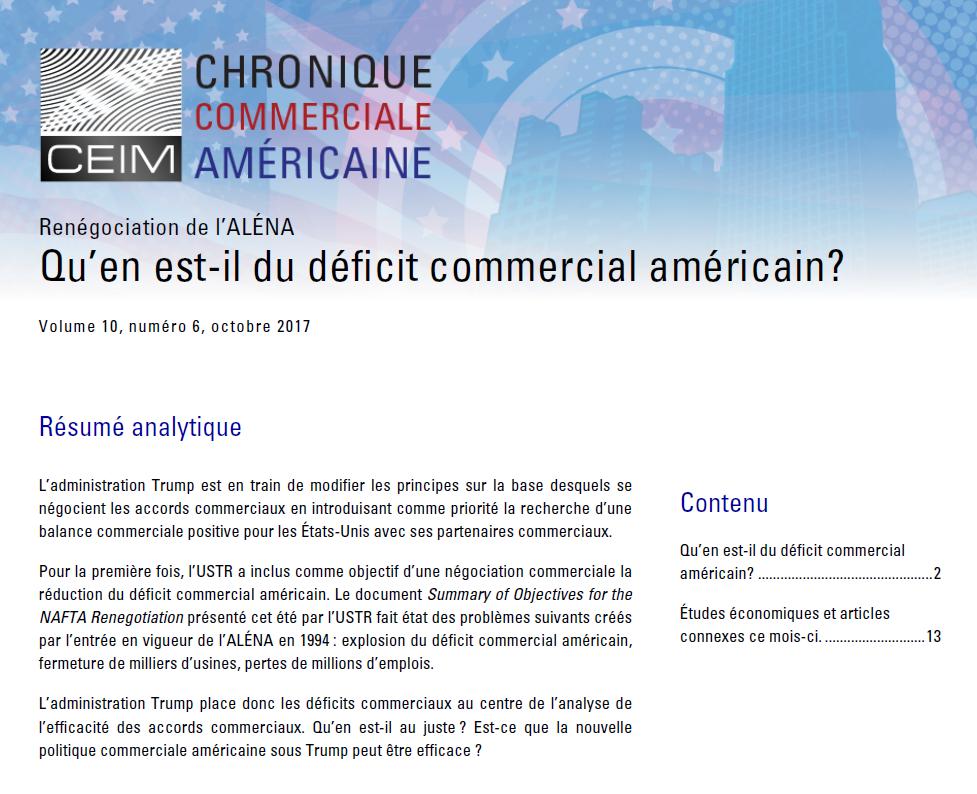 Qu'en est-il du déficit commercial américain ?