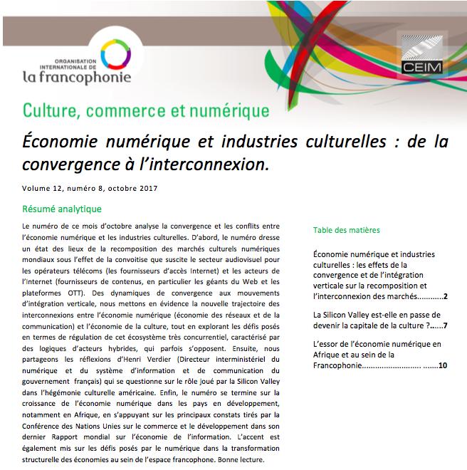 Économie numérique et industries culturelles: de la convergence à l'interconnexion.