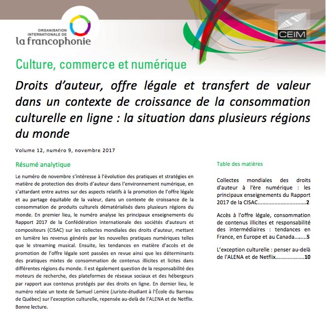 Droits d'auteur, offre légale et transfert de valeur dans un contexte de croissance de la consommation culturelle en ligne: la situation dans plusieurs régions du monde