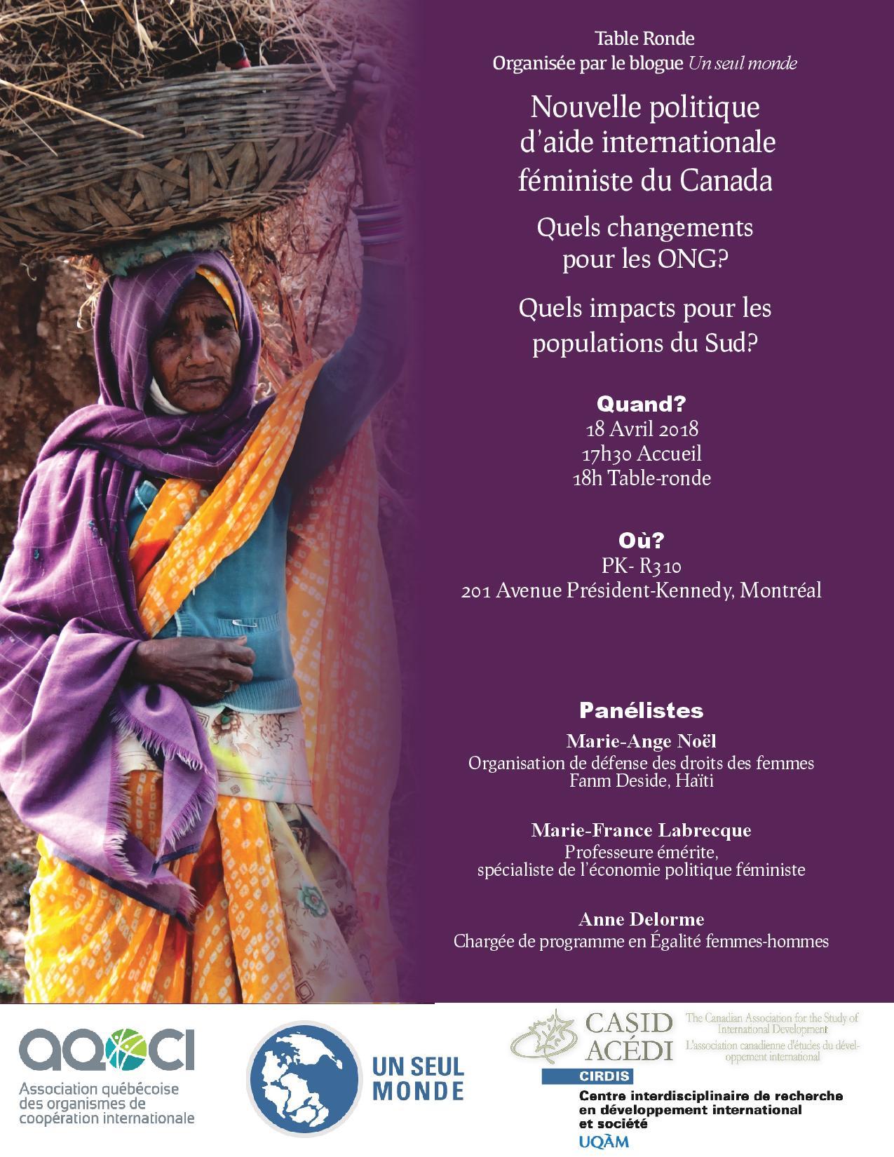 Nouvelle Politique d'aide internationale féministe du Canada: impacts sur le Sud et la coopération