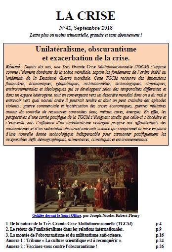 Unilatéralisme, obscurantisme et exacerbation de la crise