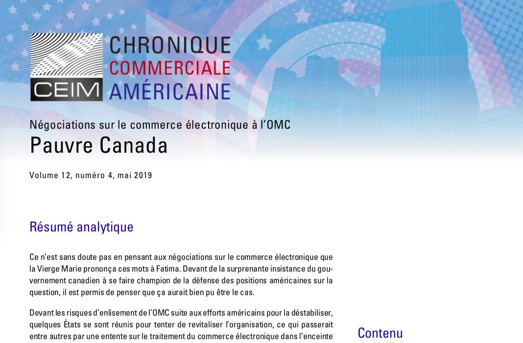 Négociations sur le commerce électronique à l'OMC: Pauvre Canada