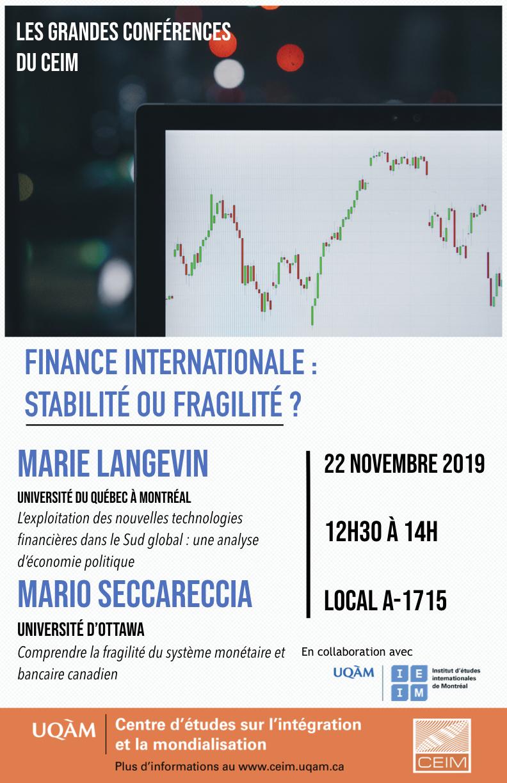 Finance internationale: stabilité  ou fragilité?