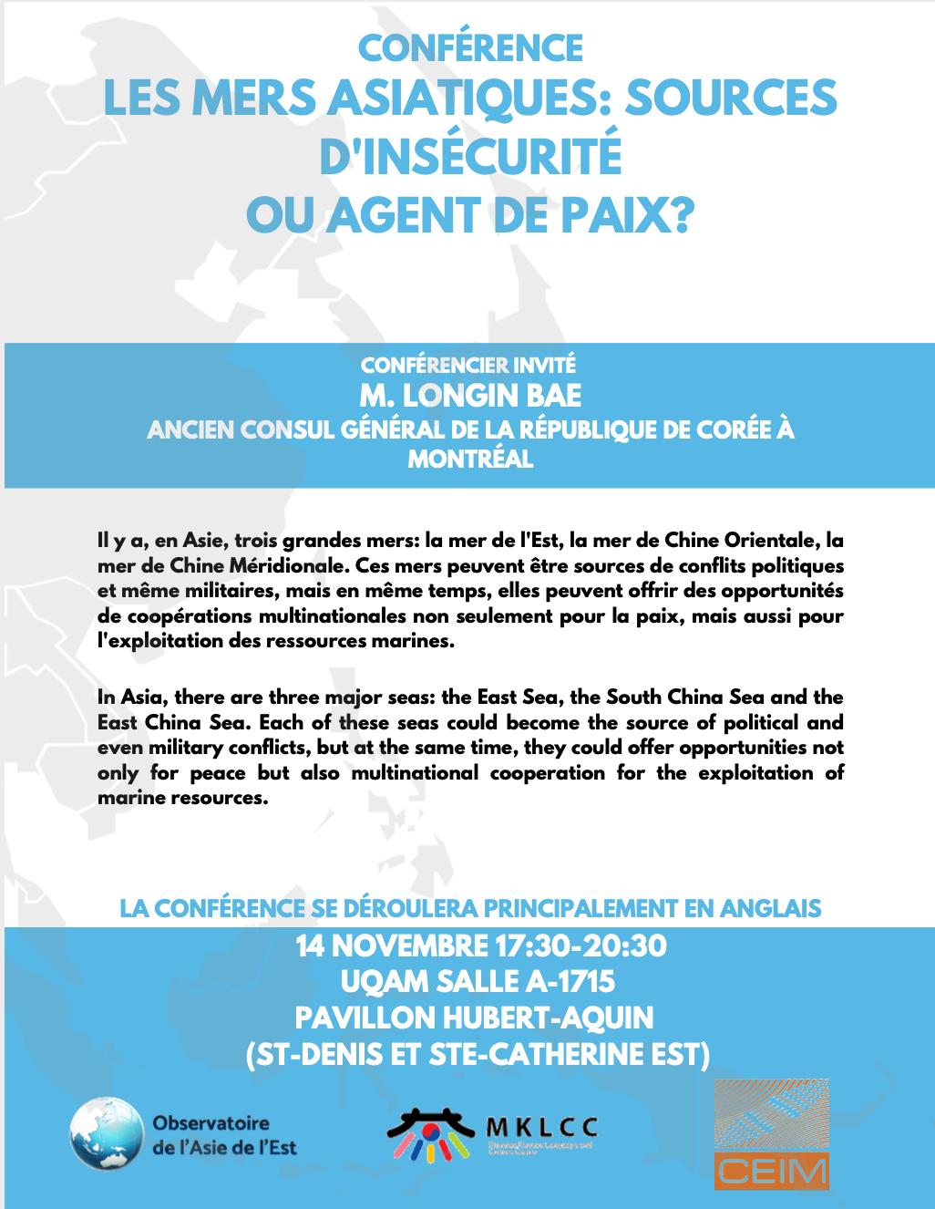 Les mers asiatiques: sources d'insécurité ou agent de paix?