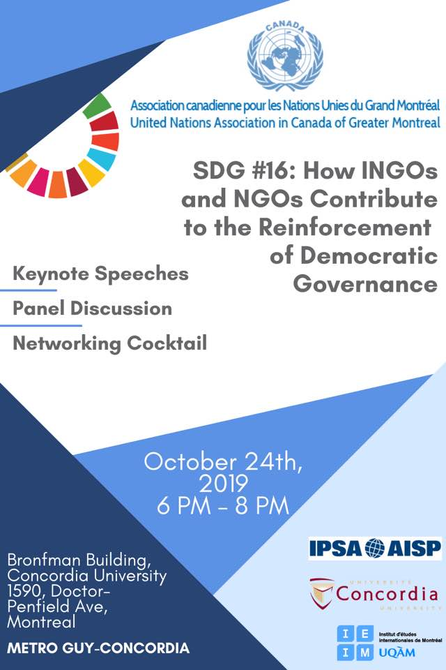 SDG #16 on Peace, Justice and Strong Institutions : How INGOs and NGOs contribute to the reinforcement of democratic governance