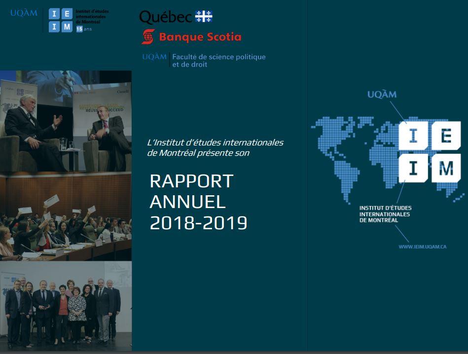 Le rapport annuel 2018-2019 de l'IEIM est disponible en ligne!