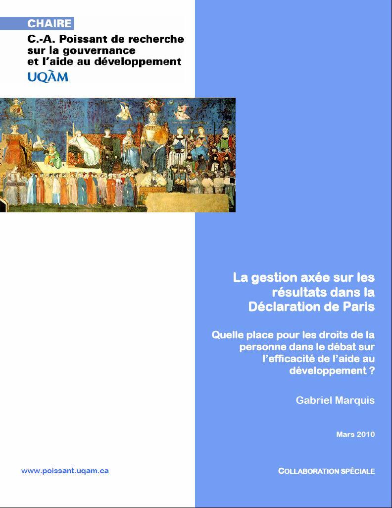 La gestion axée sur les résultats dans la Déclaration de Paris par Gabriel Marquis