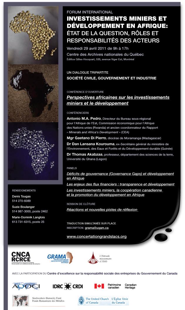 Investissements miniers et développement en Afrique:  État de la question, rôles et responsabilité des acteurs?