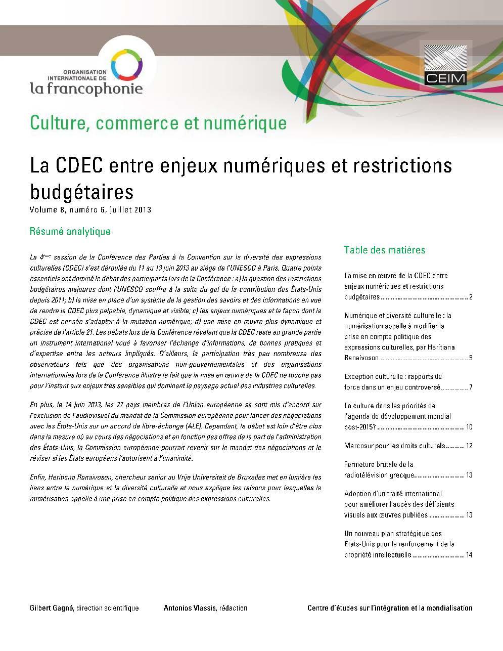 La CDEC entre enjeux numériques et restrictions budgétaires