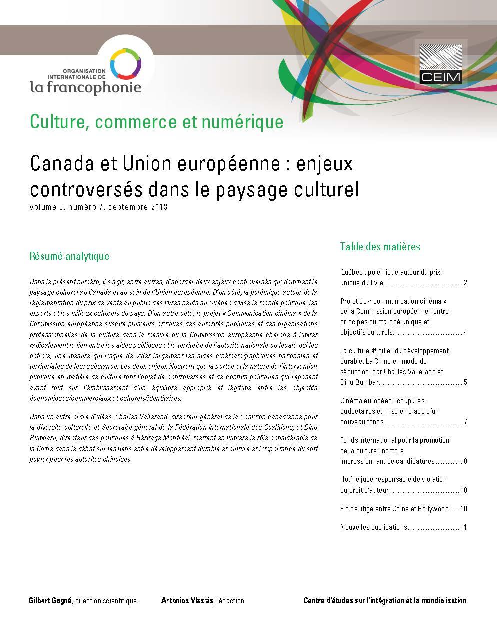 Canada et Union européenne: enjeux controversés dans le paysage culturel