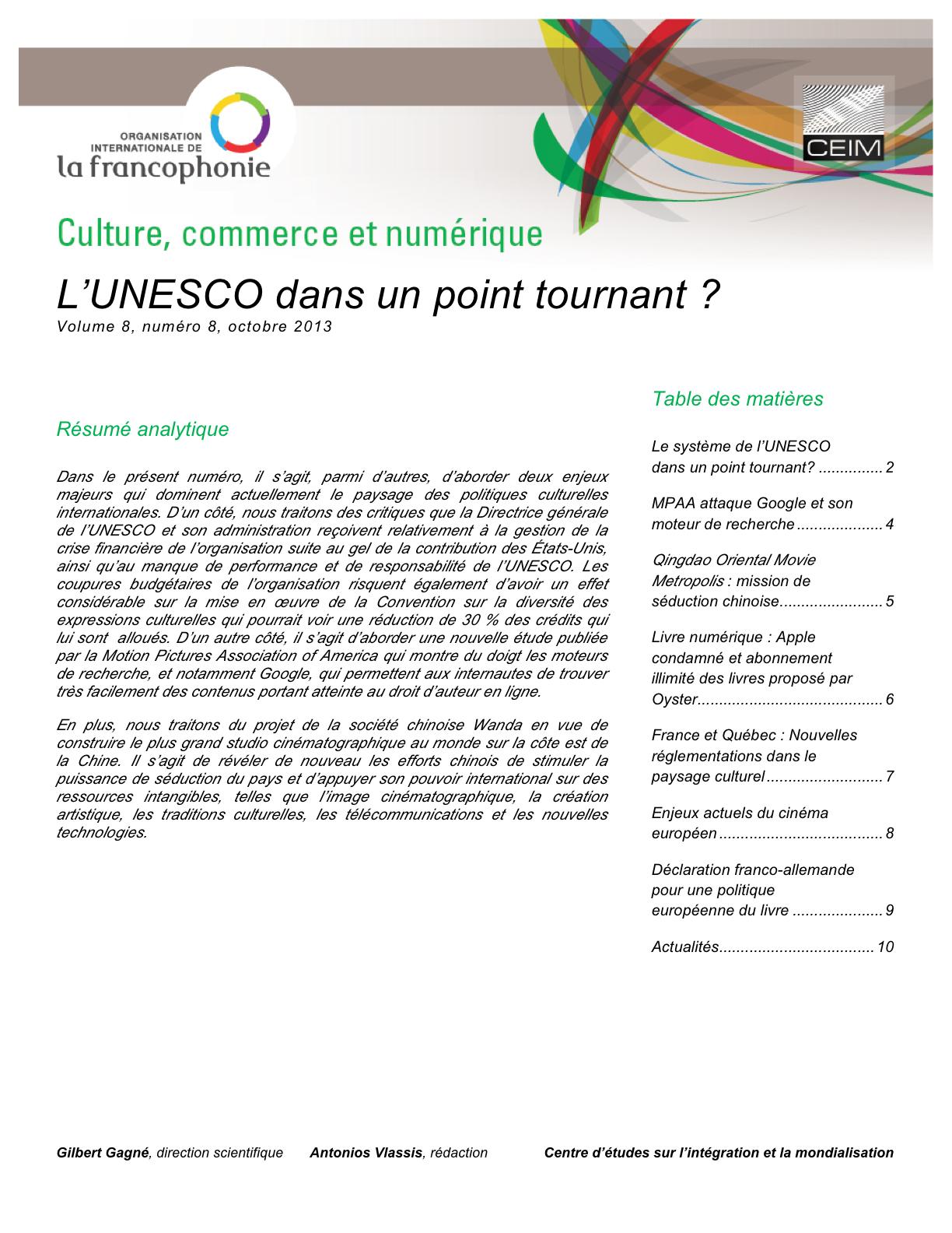 L'UNESCO dans un point tournant?